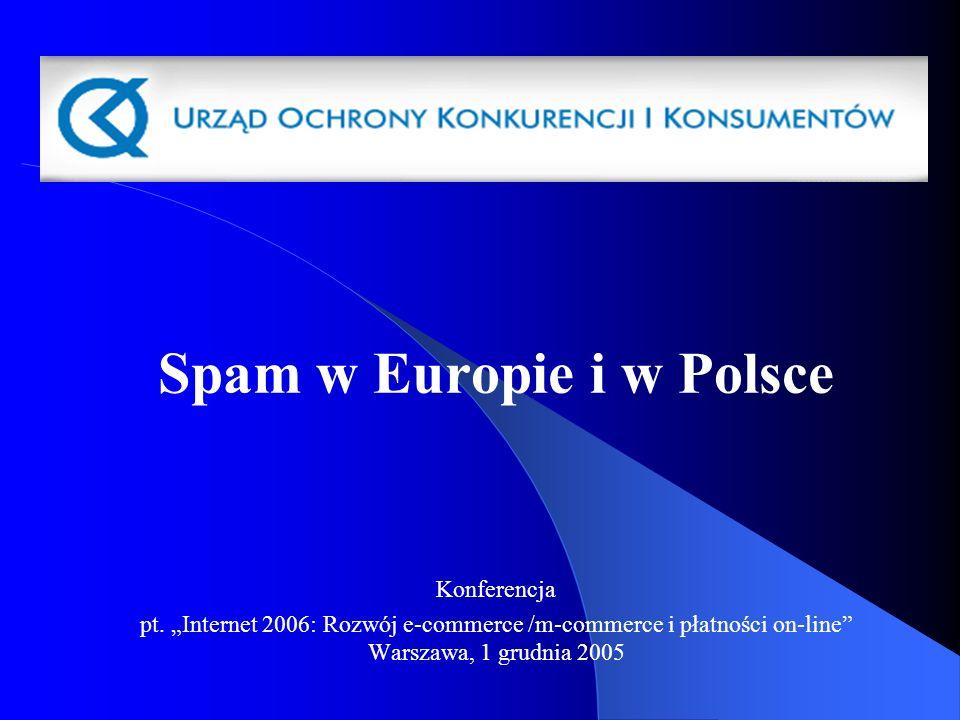 Spam w Europie i w Polsce Konferencja pt. Internet 2006: Rozwój e-commerce /m-commerce i płatności on-line Warszawa, 1 grudnia 2005