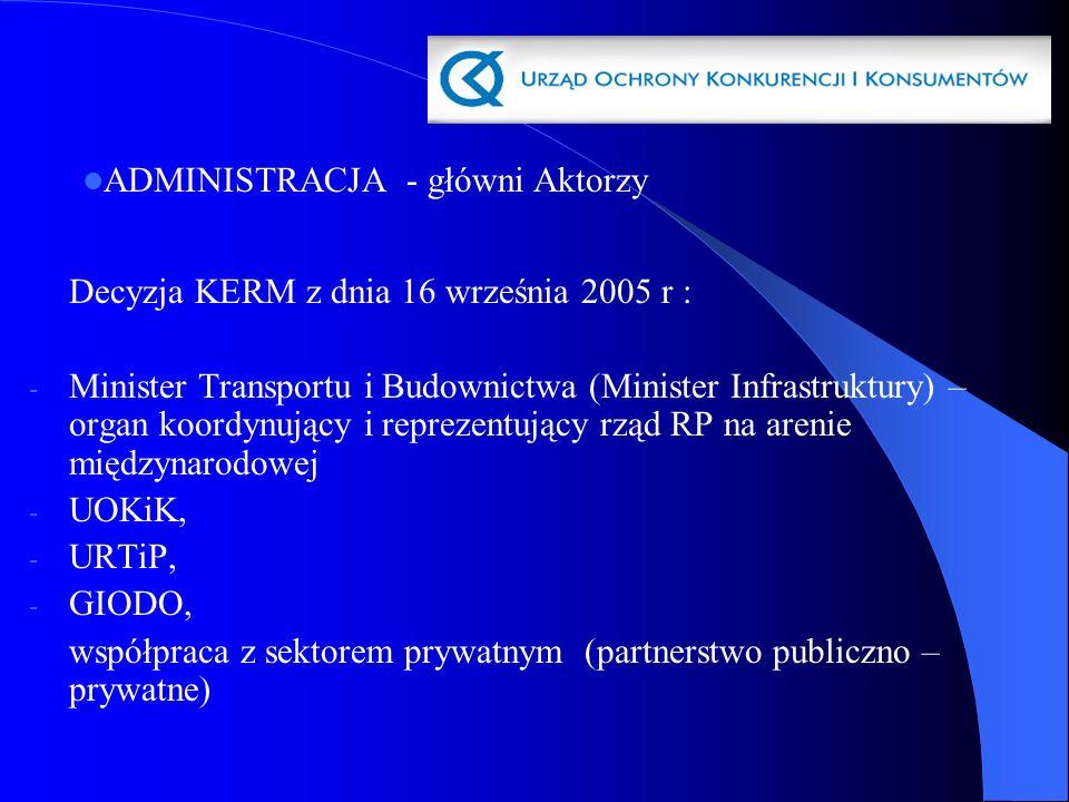 Decyzja KERM z dnia 16 września 2005 r : - Minister Transportu i Budownictwa (Minister Infrastruktury) – organ koordynujący i reprezentujący rząd RP n