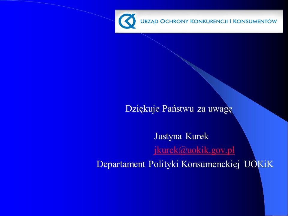 Dziękuje Państwu za uwagę Justyna Kurek jkurek@uokik.gov.pl Departament Polityki Konsumenckiej UOKiK