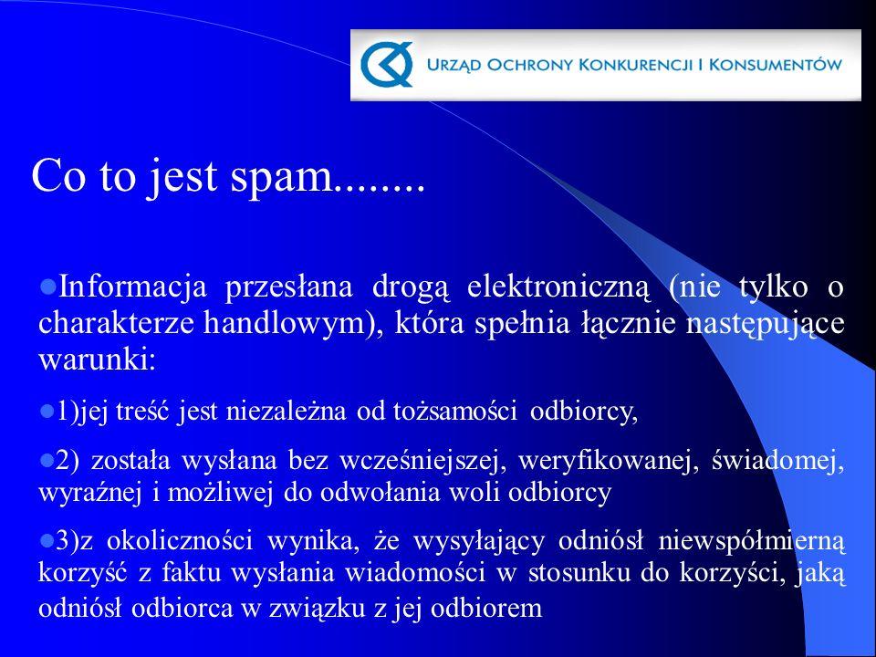 Co to jest spam........ Informacja przesłana drogą elektroniczną (nie tylko o charakterze handlowym), która spełnia łącznie następujące warunki: 1)jej
