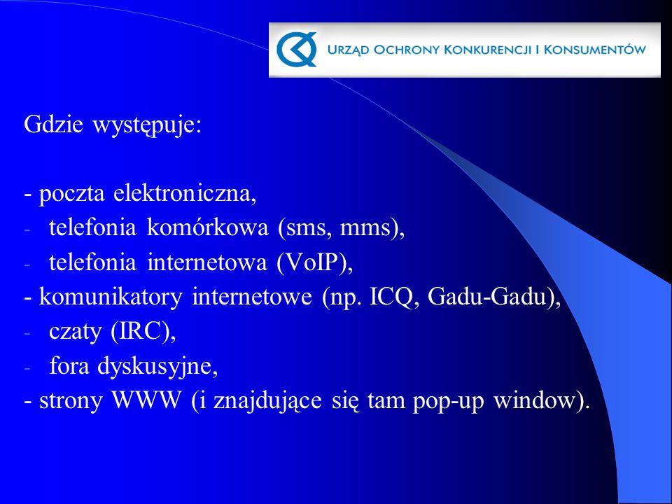 Gdzie występuje: - poczta elektroniczna, - telefonia komórkowa (sms, mms), - telefonia internetowa (VoIP), - komunikatory internetowe (np. ICQ, Gadu-G
