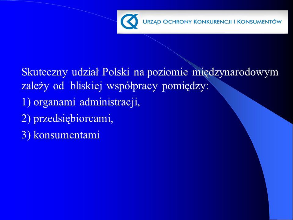 Skuteczny udział Polski na poziomie międzynarodowym zależy od bliskiej współpracy pomiędzy: 1) organami administracji, 2) przedsiębiorcami, 3) konsume