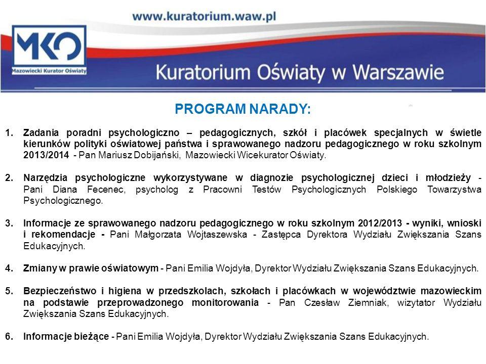 PROGRAM NARADY: 1.Zadania poradni psychologiczno – pedagogicznych, szkół i placówek specjalnych w świetle kierunków polityki oświatowej państwa i spra