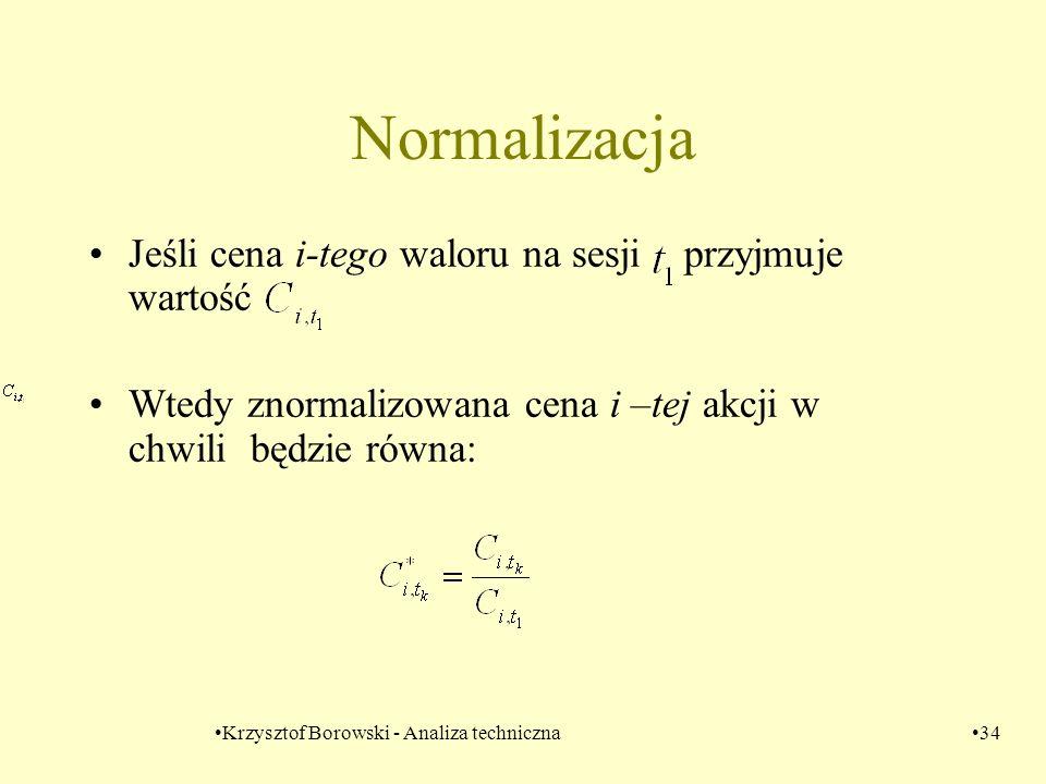 Krzysztof Borowski - Analiza techniczna34 Normalizacja Jeśli cena i-tego waloru na sesji przyjmuje wartość Wtedy znormalizowana cena i –tej akcji w ch