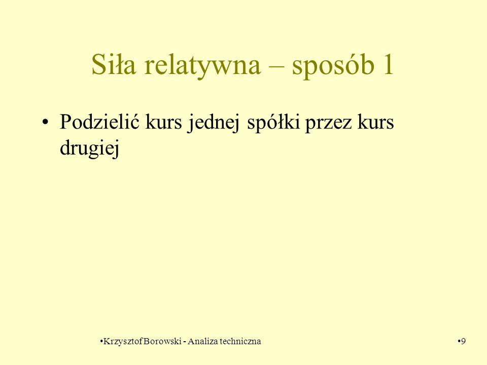 Krzysztof Borowski - Analiza techniczna9 Siła relatywna – sposób 1 Podzielić kurs jednej spółki przez kurs drugiej