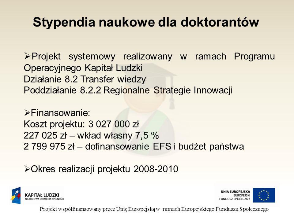 Stypendia naukowe dla doktorantów Projekt współfinansowany przez Unię Europejską w ramach Europejskiego Funduszu Społecznego Projekt systemowy realizowany w ramach Programu Operacyjnego Kapitał Ludzki Działanie 8.2 Transfer wiedzy Poddziałanie 8.2.2 Regionalne Strategie Innowacji Finansowanie: Koszt projektu: 3 027 000 zł 227 025 zł – wkład własny 7,5 % 2 799 975 zł – dofinansowanie EFS i budżet państwa Okres realizacji projektu 2008-2010