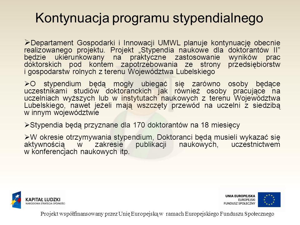 Kontynuacja programu stypendialnego Projekt współfinansowany przez Unię Europejską w ramach Europejskiego Funduszu Społecznego Departament Gospodarki i Innowacji UMWL planuje kontynuację obecnie realizowanego projektu.