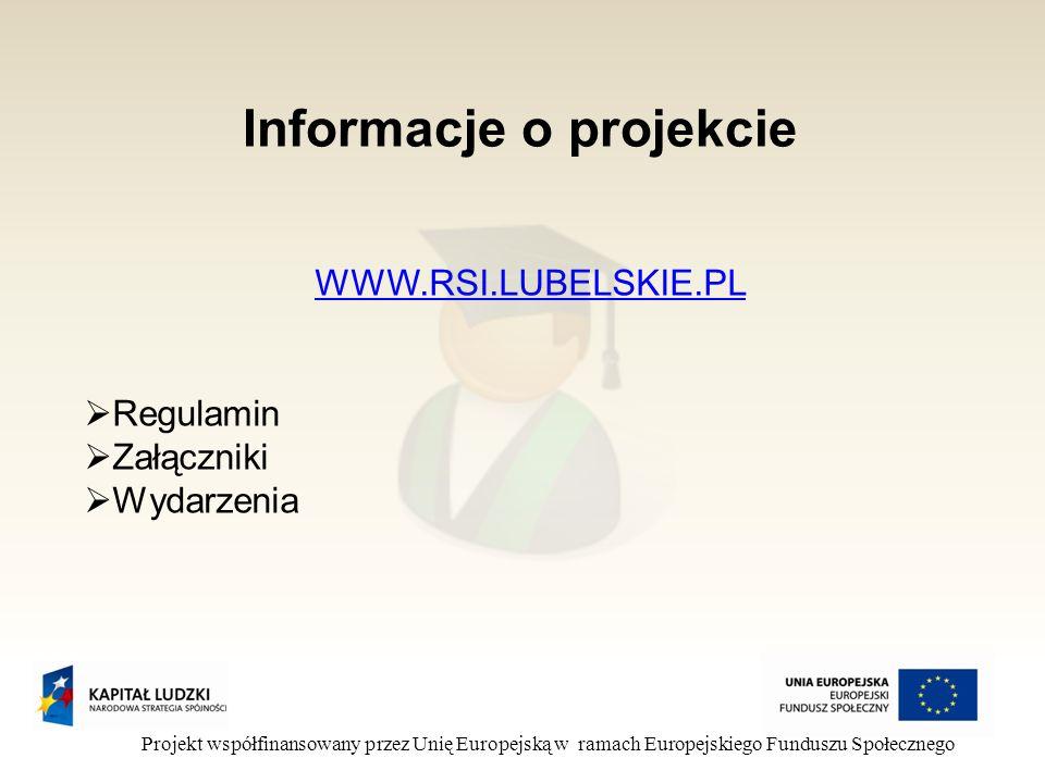 Informacje o projekcie Projekt współfinansowany przez Unię Europejską w ramach Europejskiego Funduszu Społecznego WWW.RSI.LUBELSKIE.PL Regulamin Załączniki Wydarzenia