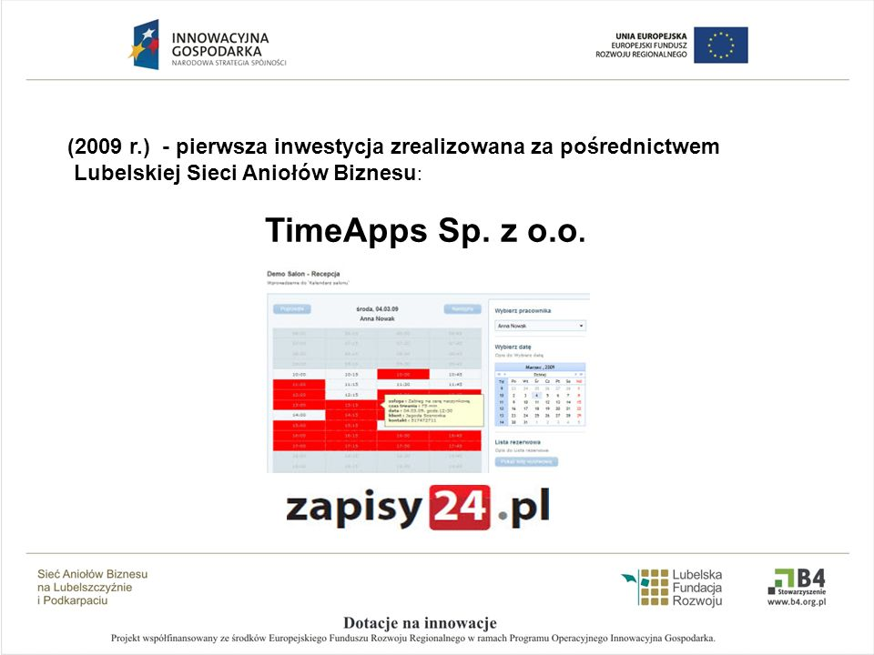 (2009 r.) - pierwsza inwestycja zrealizowana za pośrednictwem Lubelskiej Sieci Aniołów Biznesu : TimeApps Sp. z o.o.