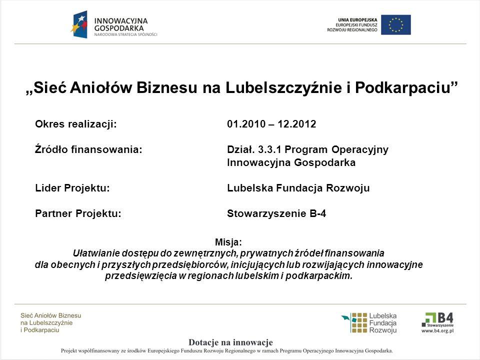 Okres realizacji: 01.2010 – 12.2012 Źródło finansowania: Dział. 3.3.1 Program Operacyjny Innowacyjna Gospodarka Lider Projektu: Lubelska Fundacja Rozw
