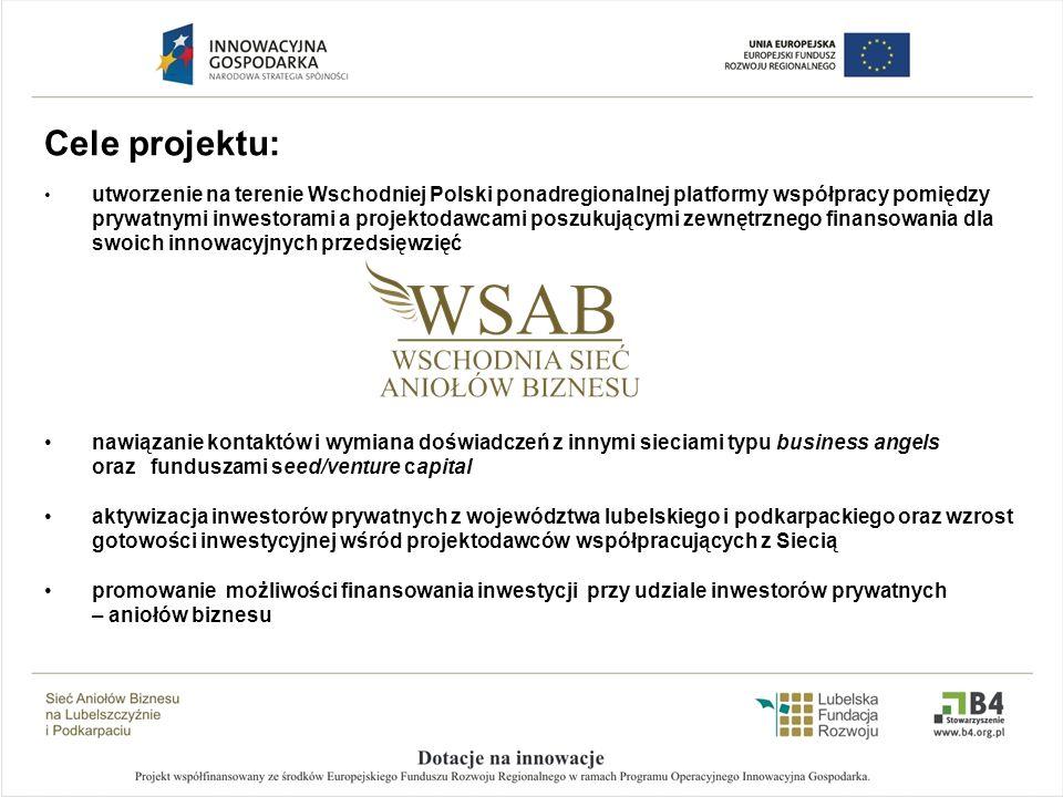 Cele projektu: utworzenie na terenie Wschodniej Polski ponadregionalnej platformy współpracy pomiędzy prywatnymi inwestorami a projektodawcami poszuku