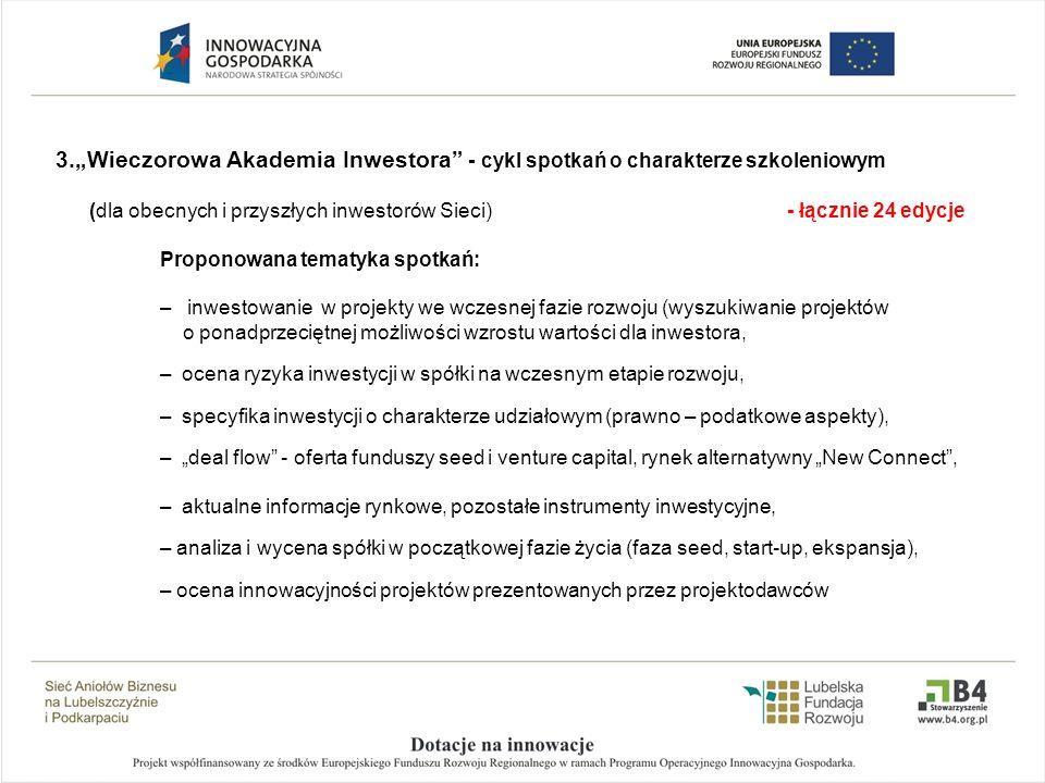 3.Wieczorowa Akademia Inwestora - cykl spotkań o charakterze szkoleniowym (dla obecnych i przyszłych inwestorów Sieci) - łącznie 24 edycje Proponowana
