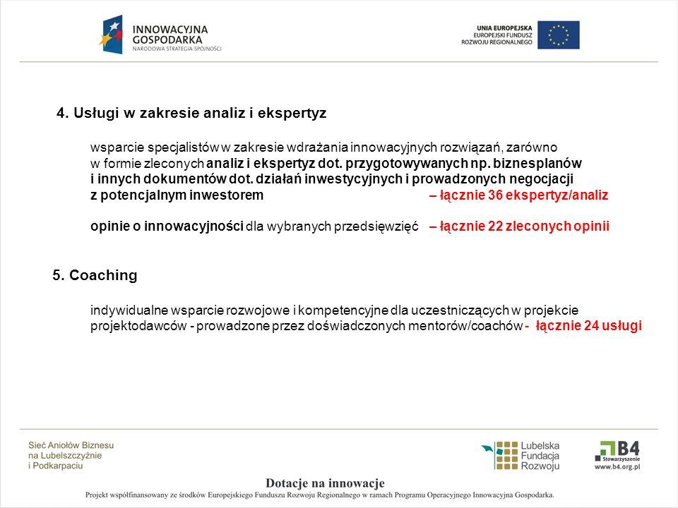 4. Usługi w zakresie analiz i ekspertyz wsparcie specjalistów w zakresie wdrażania innowacyjnych rozwiązań, zarówno w formie zleconych analiz i eksper