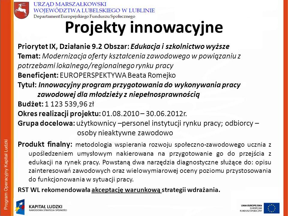 Projekty innowacyjne Priorytet IX, Działanie 9.2 Obszar: Edukacja i szkolnictwo wyższe Temat: Modernizacja oferty kształcenia zawodowego w powiązaniu z potrzebami lokalnego/regionalnego rynku pracy Beneficjent: EUROPERSPEKTYWA Beata Romejko Tytuł: Innowacyjny program przygotowania do wykonywania pracy zawodowej dla młodzieży z niepełnosprawnością Budżet: 1 123 539,96 zł Okres realizacji projektu: 01.08.2010 – 30.06.2012r.