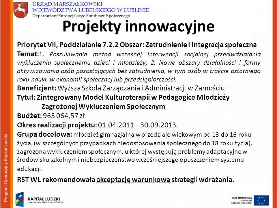 Projekty innowacyjne Priorytet VII, Poddziałanie 7.2.2 Obszar: Zatrudnienie i integracja społeczna Temat: 1.