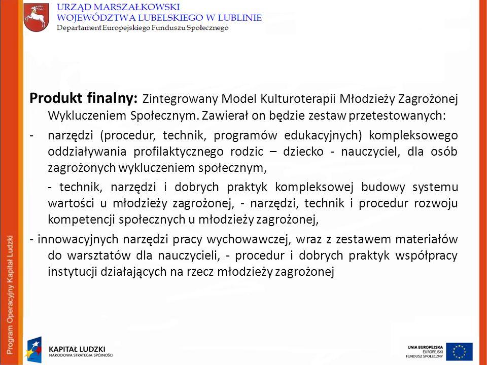 Produkt finalny: Zintegrowany Model Kulturoterapii Młodzieży Zagrożonej Wykluczeniem Społecznym.