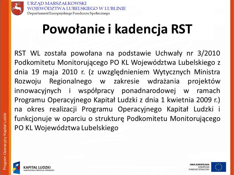 Powołanie i kadencja RST RST WL została powołana na podstawie Uchwały nr 3/2010 Podkomitetu Monitorującego PO KL Województwa Lubelskiego z dnia 19 maja 2010 r.