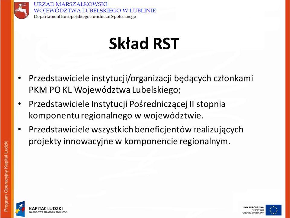 Skład RST Przedstawiciele instytucji/organizacji będących członkami PKM PO KL Województwa Lubelskiego; Przedstawiciele Instytucji Pośredniczącej II stopnia komponentu regionalnego w województwie.