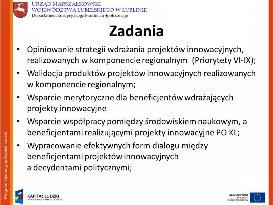 Zadania Opiniowanie strategii wdrażania projektów innowacyjnych, realizowanych w komponencie regionalnym (Priorytety VI-IX); Walidacja produktów projektów innowacyjnych realizowanych w komponencie regionalnym; Wsparcie merytoryczne dla beneficjentów wdrażających projekty innowacyjne Wsparcie współpracy pomiędzy środowiskiem naukowym, a beneficjentami realizującymi projekty innowacyjne PO KL; Wypracowanie efektywnych form dialogu między beneficjentami projektów innowacyjnych a decydentami politycznymi;