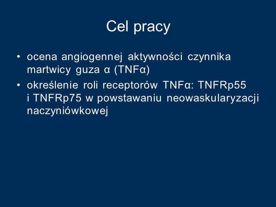 Cel pracy ocena angiogennej aktywności czynnika martwicy guza α (TNFα) określenie roli receptorów TNFα: TNFRp55 i TNFRp75 w powstawaniu neowaskularyza