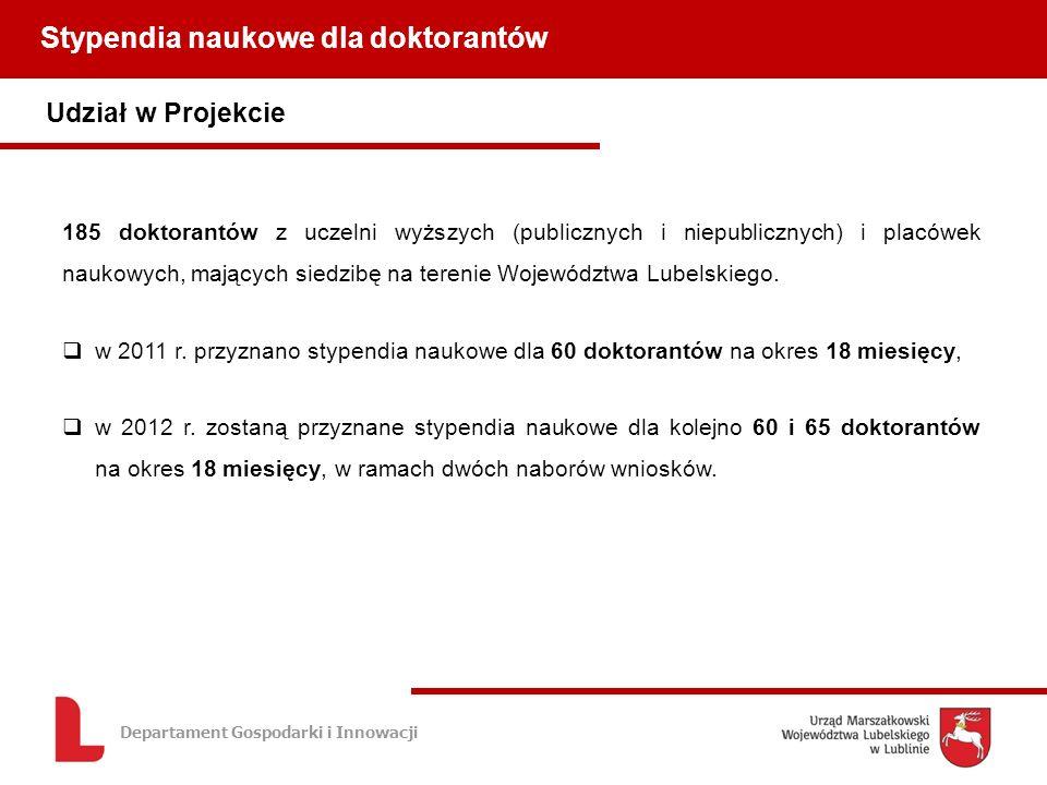 Departament Gospodarki i Innowacji Udział w Projekcie Stypendia naukowe dla doktorantów 185 doktorantów z uczelni wyższych (publicznych i niepublicznych) i placówek naukowych, mających siedzibę na terenie Województwa Lubelskiego.