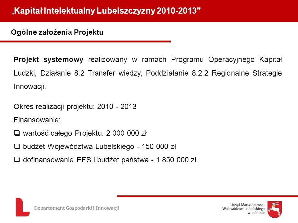 Departament Gospodarki i Innowacji Ogólne założenia Projektu Kapitał Intelektualny Lubelszczyzny 2010-2013 Projekt systemowy realizowany w ramach Programu Operacyjnego Kapitał Ludzki, Działanie 8.2 Transfer wiedzy, Poddziałanie 8.2.2 Regionalne Strategie Innowacji.
