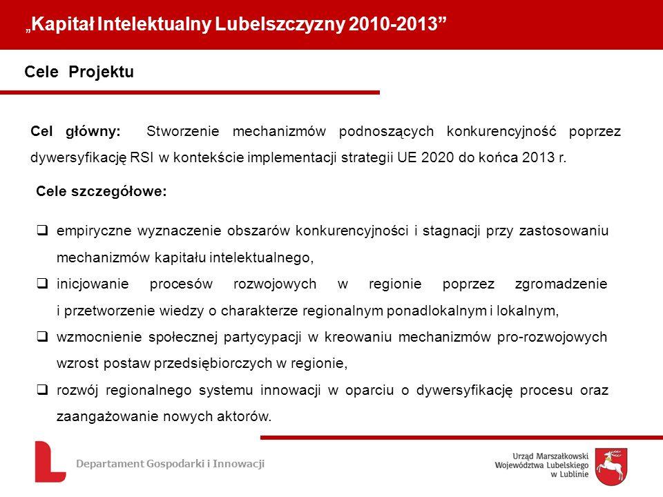 Departament Gospodarki i Innowacji Cele Projektu Kapitał Intelektualny Lubelszczyzny 2010-2013 Cel główny: Stworzenie mechanizmów podnoszących konkurencyjność poprzez dywersyfikację RSI w kontekście implementacji strategii UE 2020 do końca 2013 r.