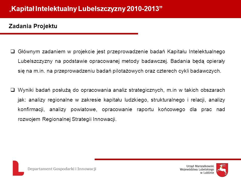 Departament Gospodarki i Innowacji Zadania Projektu Kapitał Intelektualny Lubelszczyzny 2010-2013 Głównym zadaniem w projekcie jest przeprowadzenie badań Kapitału Intelektualnego Lubelszczyzny na podstawie opracowanej metody badawczej.