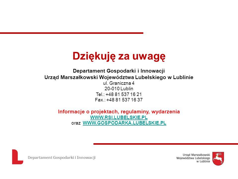Departament Gospodarki i Innowacji Dziękuję za uwagę Departament Gospodarki i Innowacji Urząd Marszałkowski Województwa Lubelskiego w Lublinie ul.