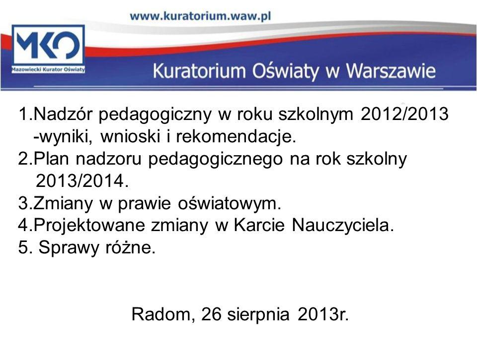 1.Nadzór pedagogiczny w roku szkolnym 2012/2013 -wyniki, wnioski i rekomendacje. 2.Plan nadzoru pedagogicznego na rok szkolny 2013/2014. 3.Zmiany w pr