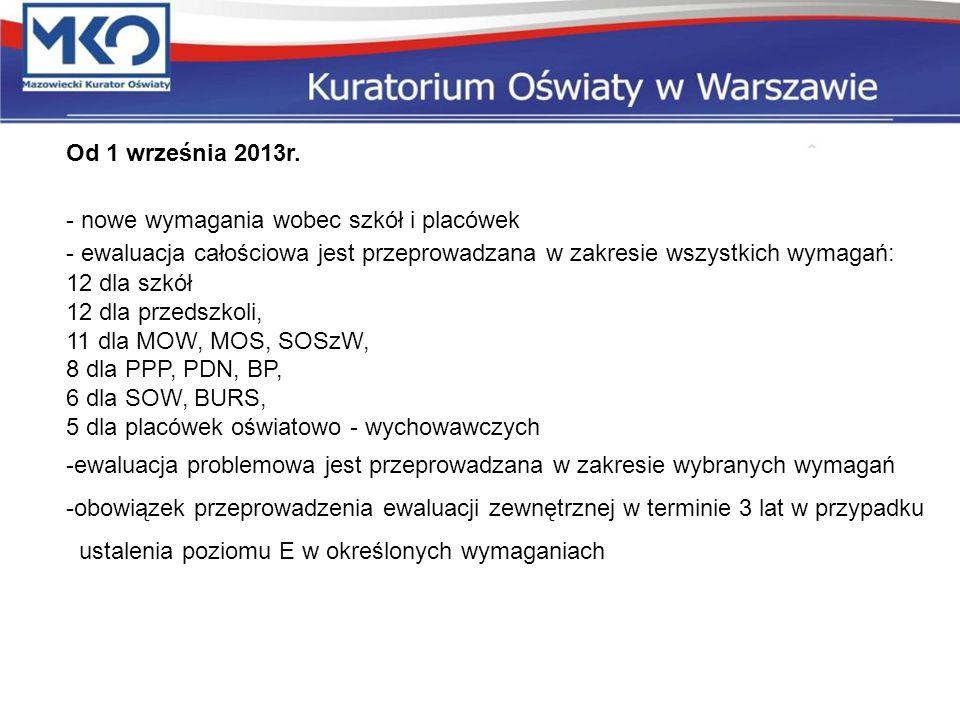 Od 1 września 2013r. - nowe wymagania wobec szkół i placówek - ewaluacja całościowa jest przeprowadzana w zakresie wszystkich wymagań: 12 dla szkół 12