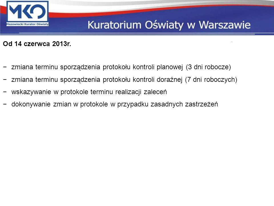 Od 14 czerwca 2013r. zmiana terminu sporządzenia protokołu kontroli planowej (3 dni robocze) zmiana terminu sporządzenia protokołu kontroli doraźnej (
