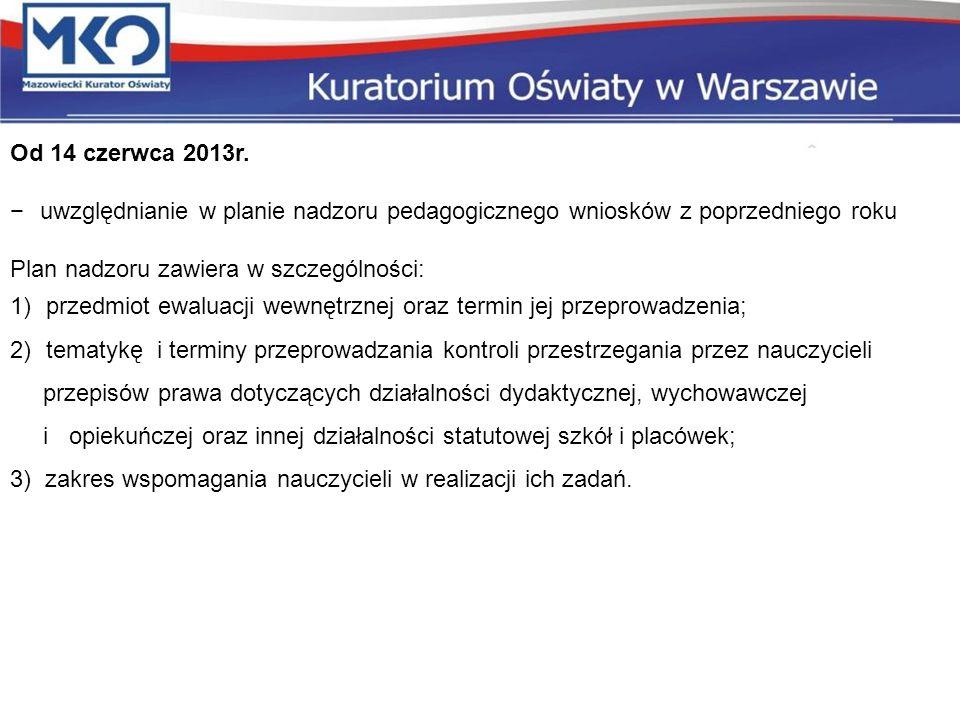 Od 14 czerwca 2013r. uwzględnianie w planie nadzoru pedagogicznego wniosków z poprzedniego roku Plan nadzoru zawiera w szczególności: 1)przedmiot ewal