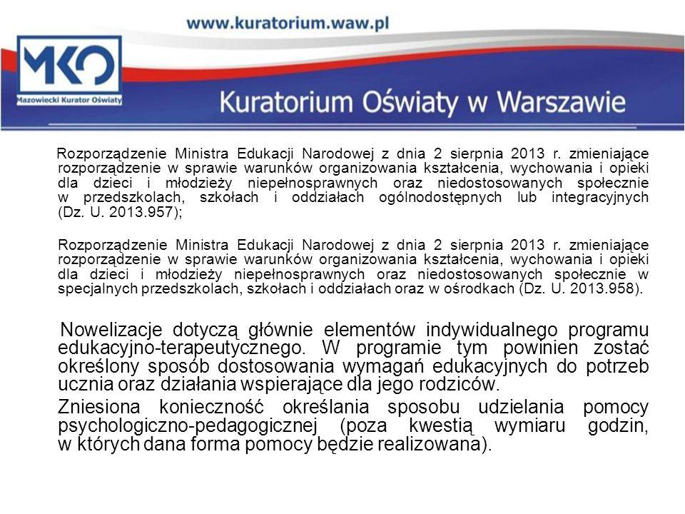 Rozporządzenie Ministra Edukacji Narodowej z dnia 2 sierpnia 2013 r. zmieniające rozporządzenie w sprawie warunków organizowania kształcenia, wychowan