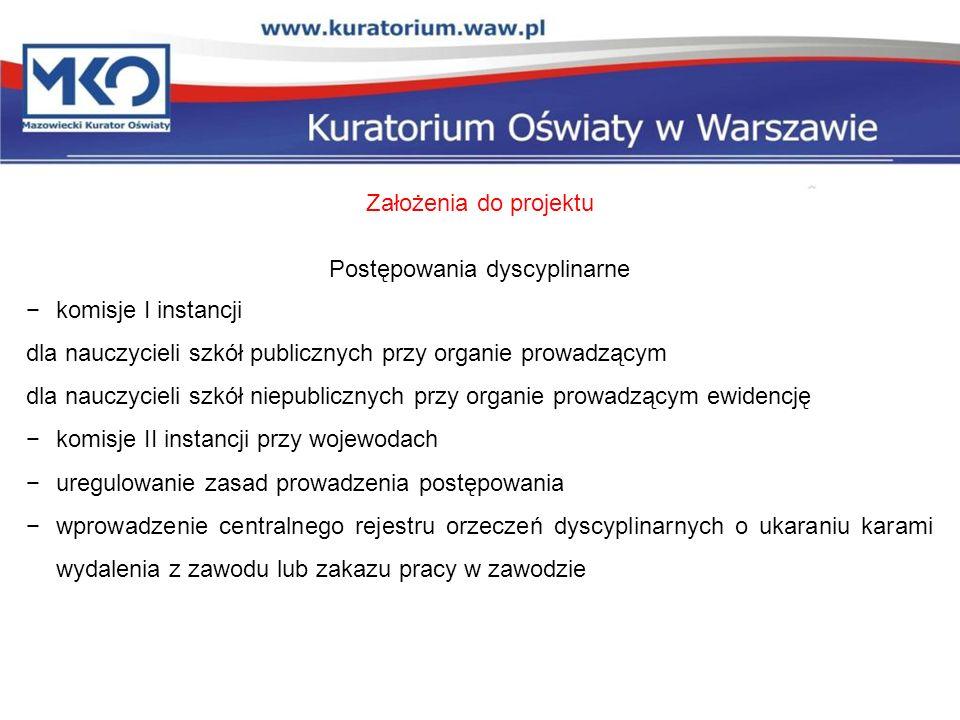 Założenia do projektu Postępowania dyscyplinarne komisje I instancji dla nauczycieli szkół publicznych przy organie prowadzącym dla nauczycieli szkół