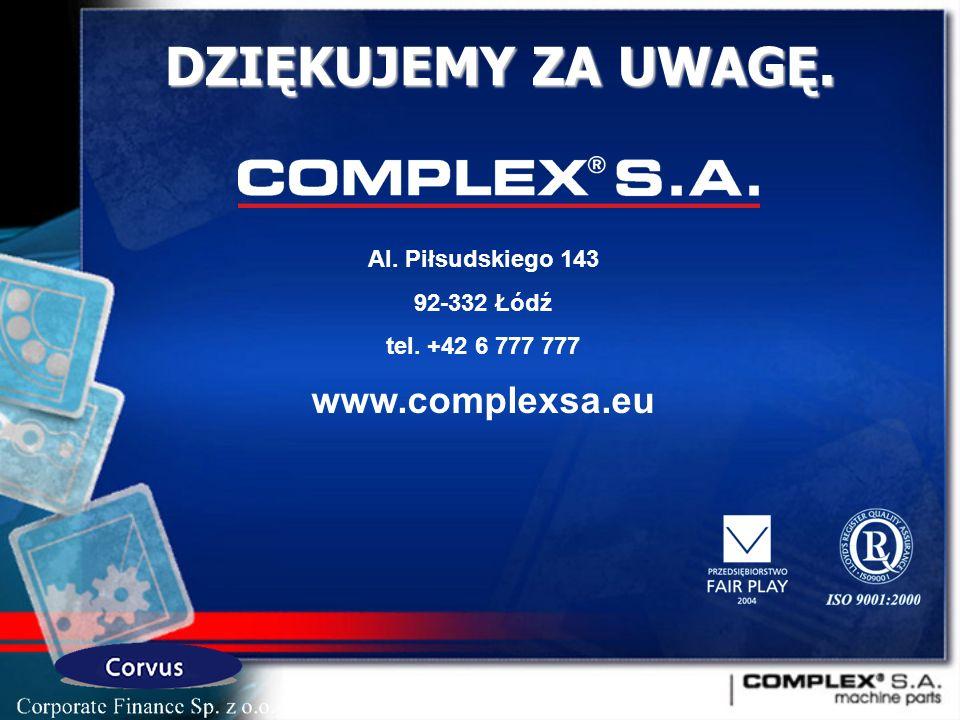 Al. Piłsudskiego 143 92-332 Łódź tel. +42 6 777 777 www.complexsa.eu DZIĘKUJEMY ZA UWAGĘ.