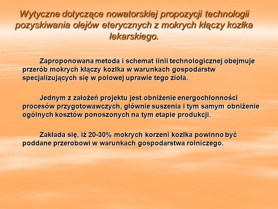 Wytyczne dotyczące nowatorskiej propozycji technologii pozyskiwania olejów eterycznych z mokrych kłączy kozłka lekarskiego. Wytyczne dotyczące nowator