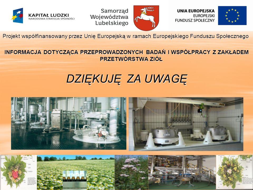 Projekt współfinansowany przez Unię Europejską w ramach Europejskiego Funduszu Społecznego INFORMACJA DOTYCZĄCA PRZEPROWADZONYCH BADAŃ I WSPÓŁPRACY Z
