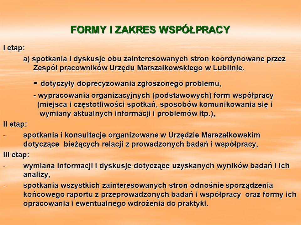 FORMY I ZAKRES WSPÓŁPRACY I etap: a) spotkania i dyskusje obu zainteresowanych stron koordynowane przez Zespół pracowników Urzędu Marszałkowskiego w L