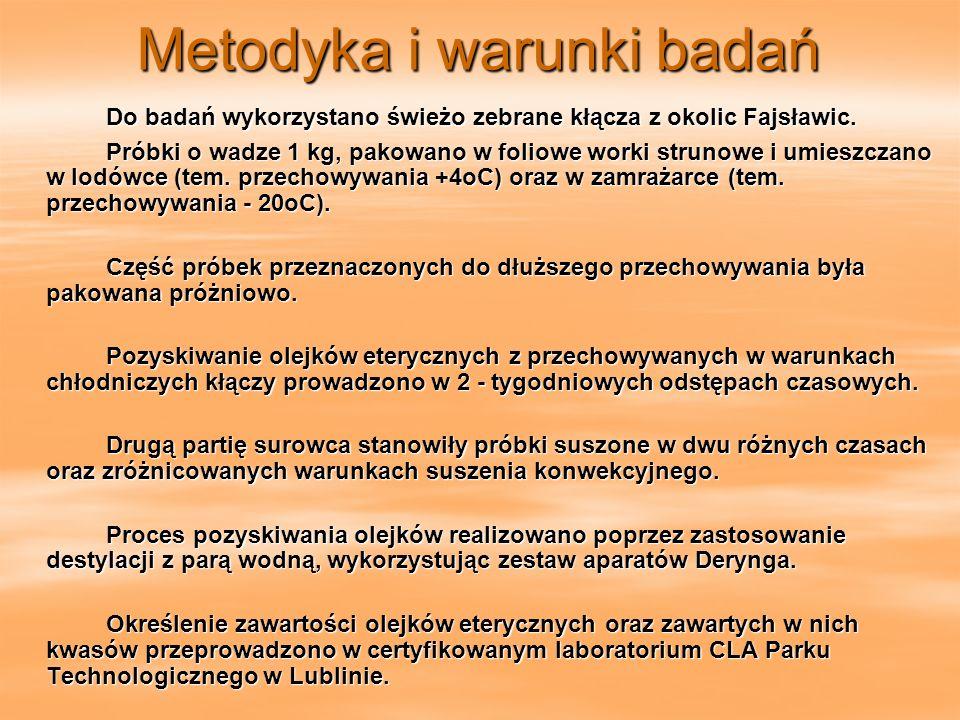 Metodyka i warunki badań Do badań wykorzystano świeżo zebrane kłącza z okolic Fajsławic. Próbki o wadze 1 kg, pakowano w foliowe worki strunowe i umie