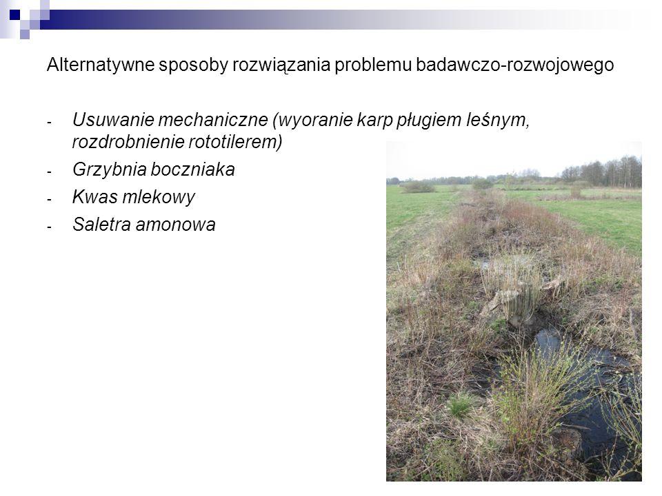 Alternatywne sposoby rozwiązania problemu badawczo-rozwojowego - Usuwanie mechaniczne (wyoranie karp pługiem leśnym, rozdrobnienie rototilerem) - Grzy