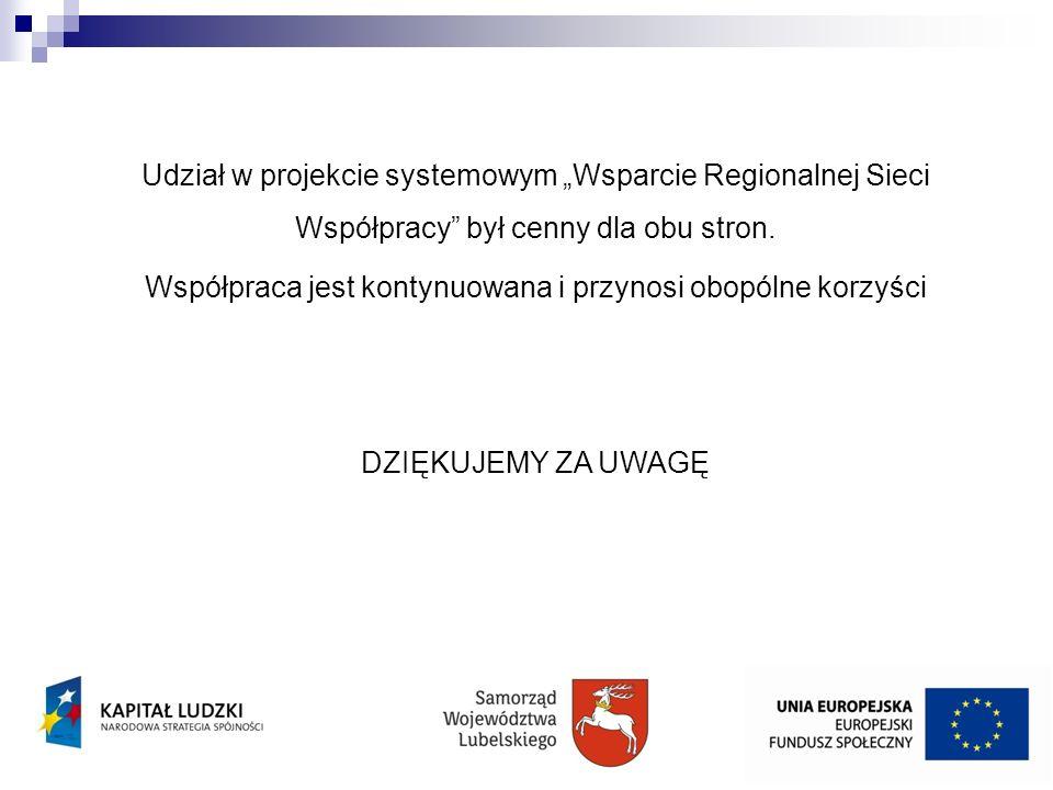 Udział w projekcie systemowym Wsparcie Regionalnej Sieci Współpracy był cenny dla obu stron. Współpraca jest kontynuowana i przynosi obopólne korzyści