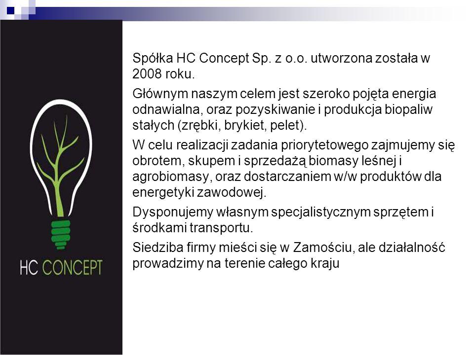 Spółka HC Concept Sp. z o.o. utworzona została w 2008 roku. Głównym naszym celem jest szeroko pojęta energia odnawialna, oraz pozyskiwanie i produkcja