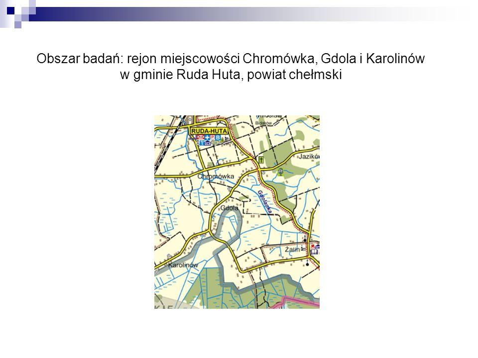 Obszar badań: rejon miejscowości Chromówka, Gdola i Karolinów w gminie Ruda Huta, powiat chełmski