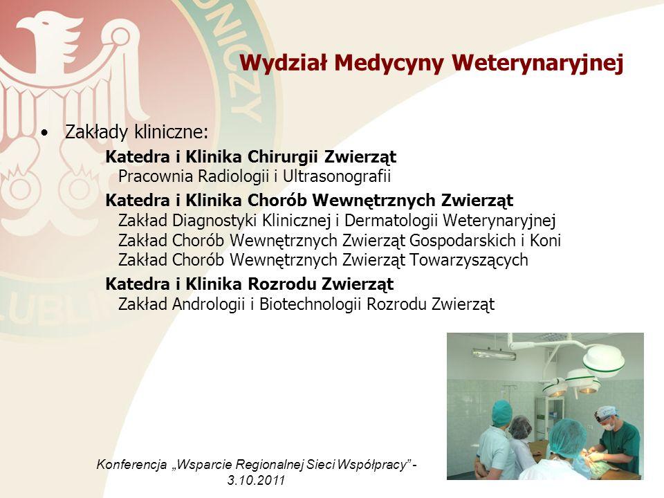 Wydział Medycyny Weterynaryjnej Zakłady kliniczne: Katedra i Klinika Chirurgii Zwierząt Pracownia Radiologii i Ultrasonografii Katedra i Klinika Choró