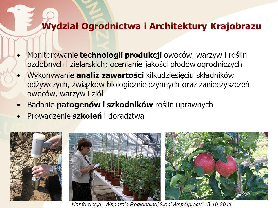 Wydział Ogrodnictwa i Architektury Krajobrazu Monitorowanie technologii produkcji owoców, warzyw i roślin ozdobnych i zielarskich; ocenianie jakości p