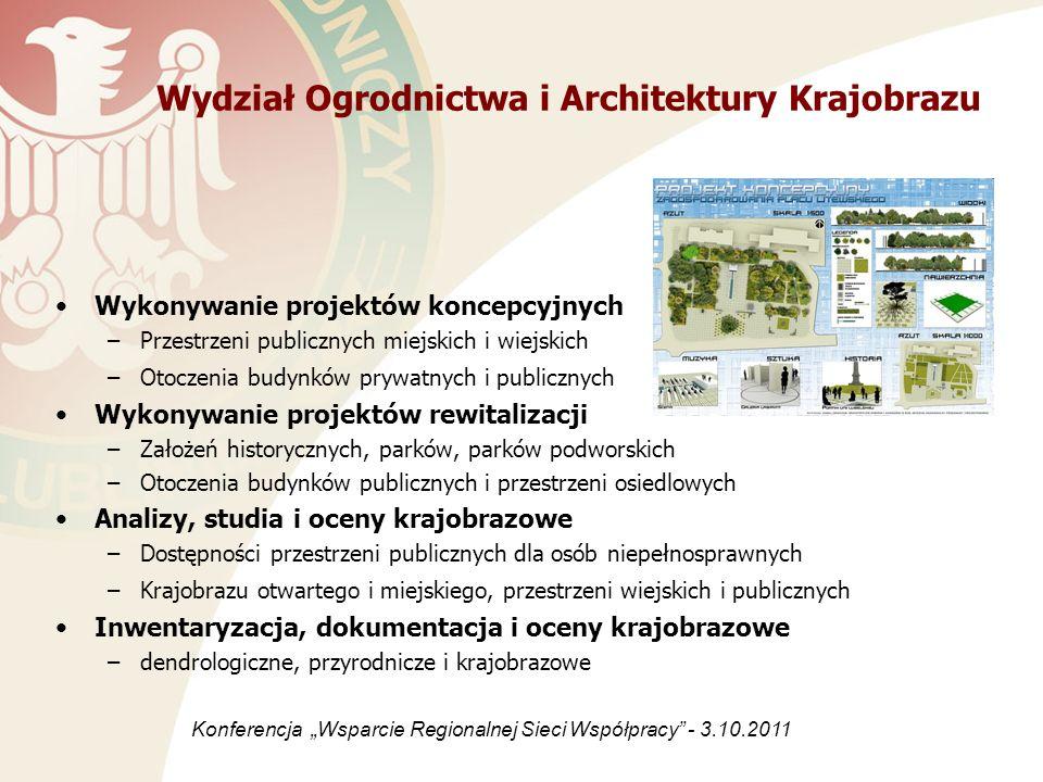 Wykonywanie projektów koncepcyjnych –Przestrzeni publicznych miejskich i wiejskich –Otoczenia budynków prywatnych i publicznych Wykonywanie projektów