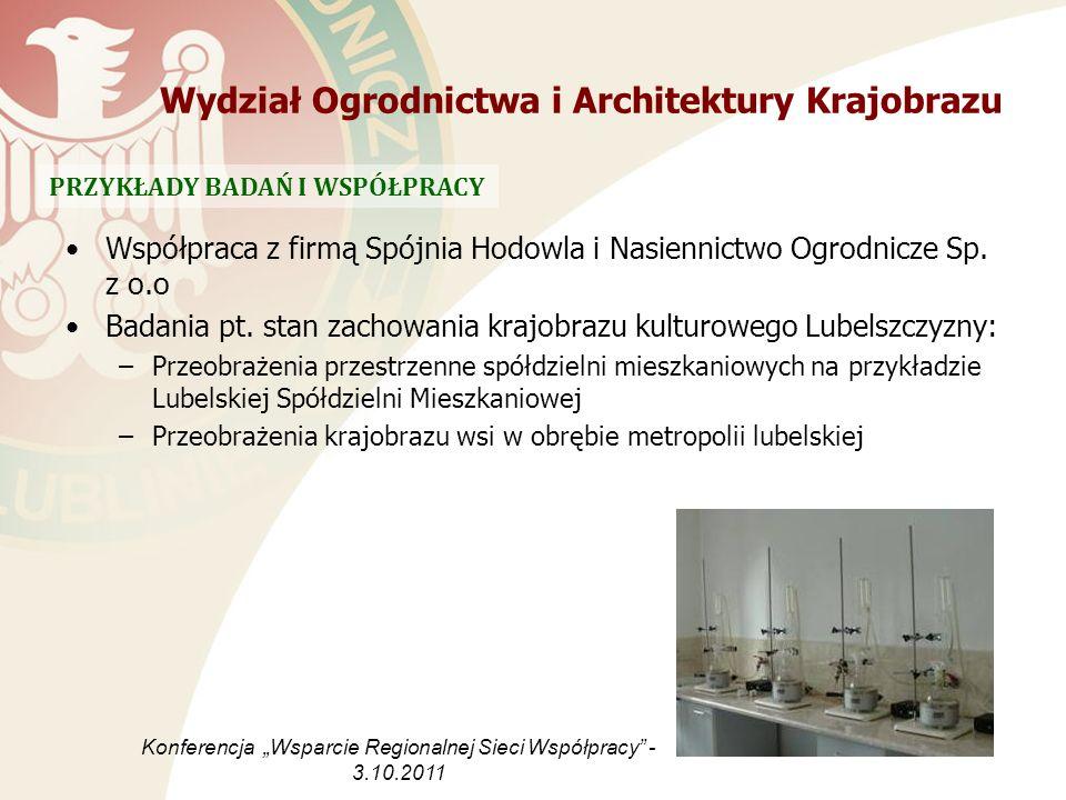 Współpraca z firmą Spójnia Hodowla i Nasiennictwo Ogrodnicze Sp. z o.o Badania pt. stan zachowania krajobrazu kulturowego Lubelszczyzny: –Przeobrażeni
