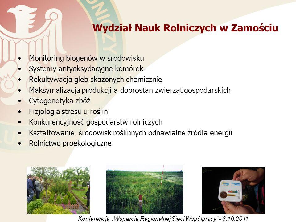Wydział Nauk Rolniczych w Zamościu Monitoring biogenów w środowisku Systemy antyoksydacyjne komórek Rekultywacja gleb skażonych chemicznie Maksymaliza
