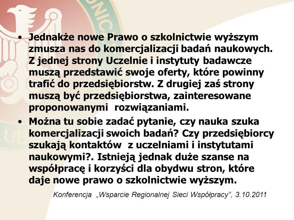 Dziękuję za uwagę Konferencja Wsparcie Regionalnej Sieci Współpracy - 3.10.2011